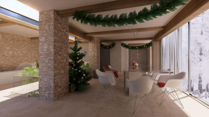 Christmas dining room, virtual image, rendered with DomuS3D® and mental ray