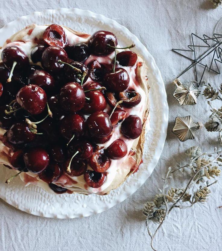Layered cherry pavlova on Vintage Lace serving plate by Kim Wallace Ceramics.