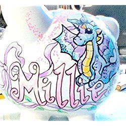 Handpainted Personalized Piggy Bank Baby Girl Dragon Design