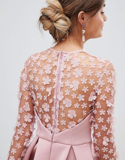 edccd910090 DESIGN 3D floral lace bandeau scuba prom midi dress in 2019