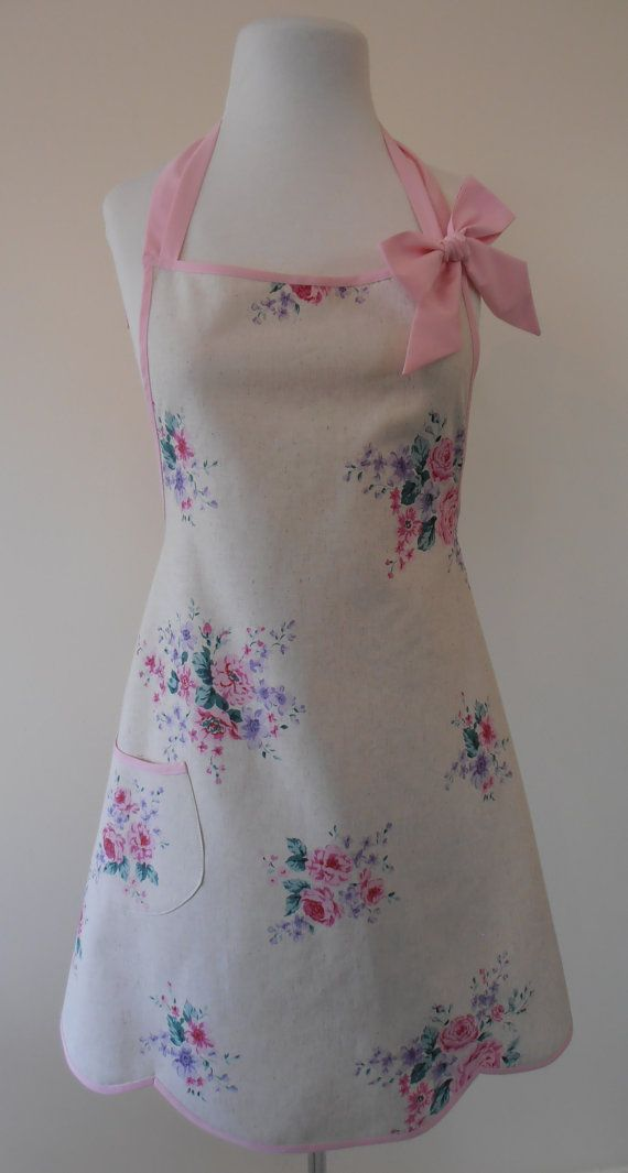 shabby chic apron pastel floral full apron by apronstringsnz