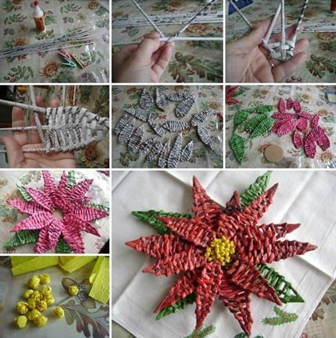 Simple handmade paper crafts: how to make Poinsettia   DIY is FUN