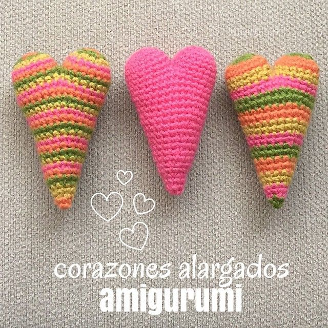 Mini tutorial del miércoles: corazones alargados tejidos a crochet (amigurumi)! Ya viene San Valentín... English subtitles video: amigurumi elongated hearts!