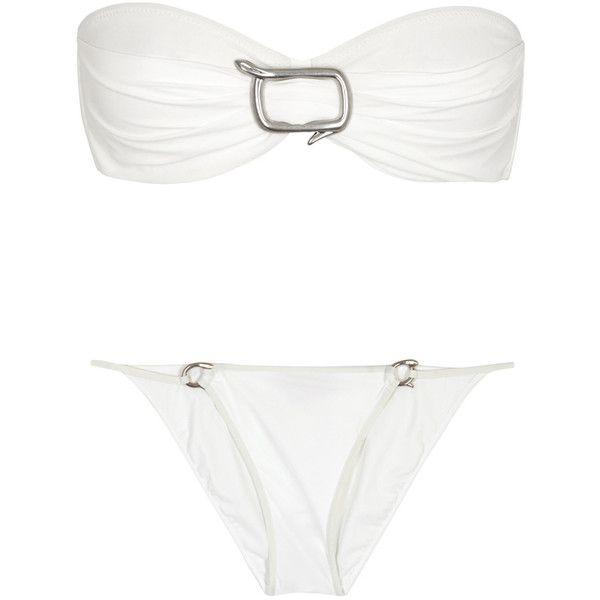 On The Island White Bandeau Bikini - Size 10 (1.685 RON) ❤ liked on Polyvore featuring swimwear, bikinis, bandeau top bikini, white bikini swimwear, bandeau top, underwire bra and underwire bandeau bikini top