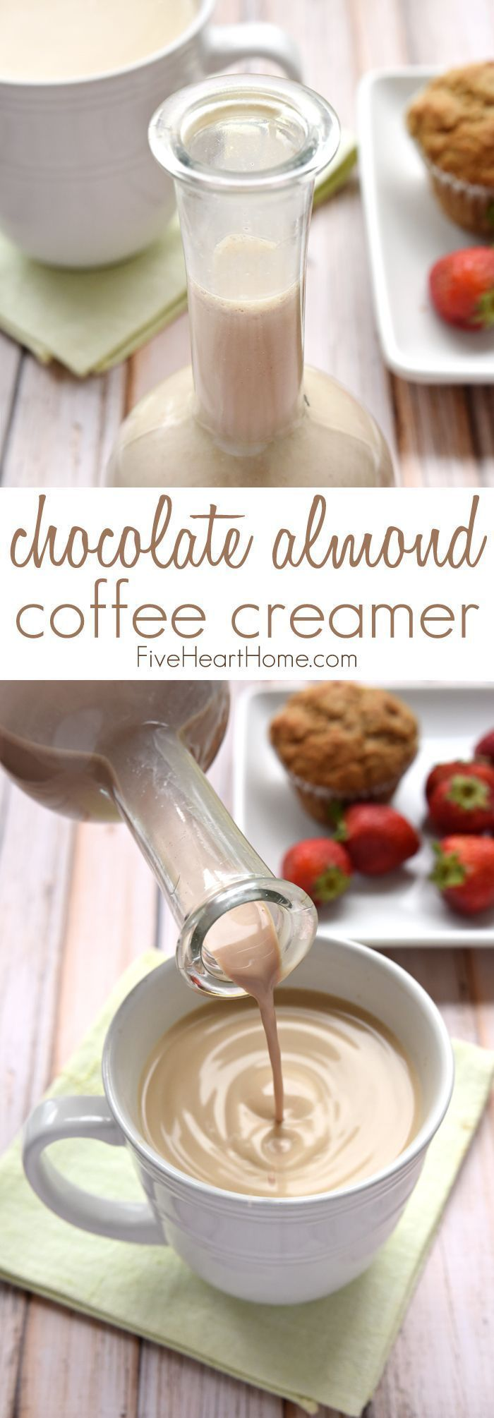 Homemade Chocolate Almond Coffee Creamer ~ this all-natural creamer is sweetened with pure maple syrup and flavored with cocoa powder, almond extract, and vanilla extract for a decadent, delicious way to dress up your morning cup 'o joe! | FiveHeartHome.com