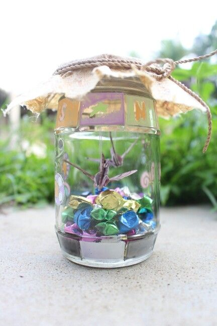 i used the used jar to make this and some of my paper star collection