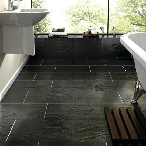 Black Slate Floor Kitchen Possibly Bathroom Too Also Nice That Tiles Are Rectangular