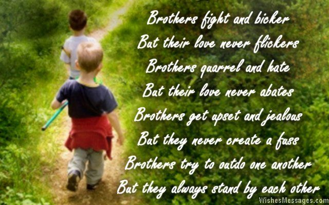 Brothers fight and bicker But their love never flickers Brothers quarrel and hate But their love never abates Brothers get upset and jealous But they never create a fuss Brothers try to outdo one another But they always stand by each other... via WishesMessages.com