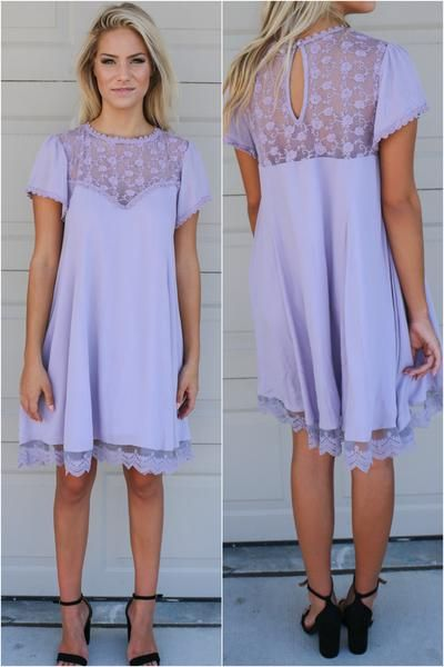 Timeless lilac dress with scallop lace hem. Short sleeve, keyhole back detail.  Material is Rayon Model Ali is 5'8 wearing size small Bust Length Small 16 35