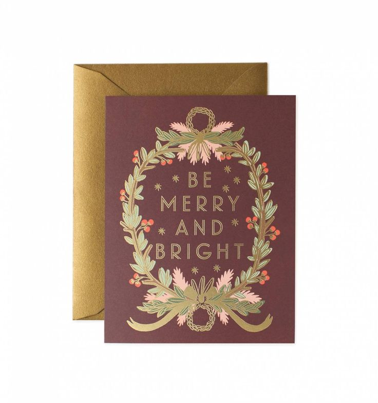 Be Merry And Bright Wreath Greeting Card