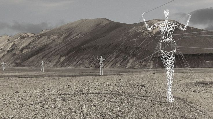 These Electricity Pylons Shaped Like Giant People Have Been Designed By Architects In Iceland.