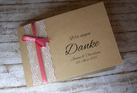 Dankeskarte Hochzeit kraft Vintage mit Spitze ...