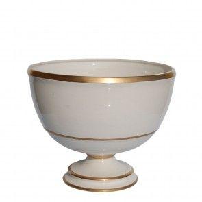 Bolo in ceramica bianca con profili oro Este Ceramiche