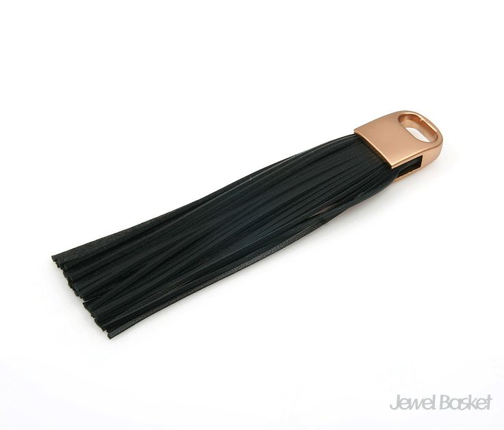 Black Color Leather Tassel with Gold Cap / 15mm x 98mm / EBLG006-P (1pcs)  - Black Color Leather - Cowhide - Gold Color Brass Cap / 15mm x 98mm - 1pcs / 1pack