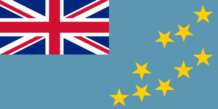 National flag of Tuvalu from http://www.flagsinformation.com/tuvalu-country-flag.html  Light blue with the flag of the UK in the upper hoist-side quadrant; the outer half of the flag represents a map of the country with nine yellow five-pointed stars symbolizing the nine islands.