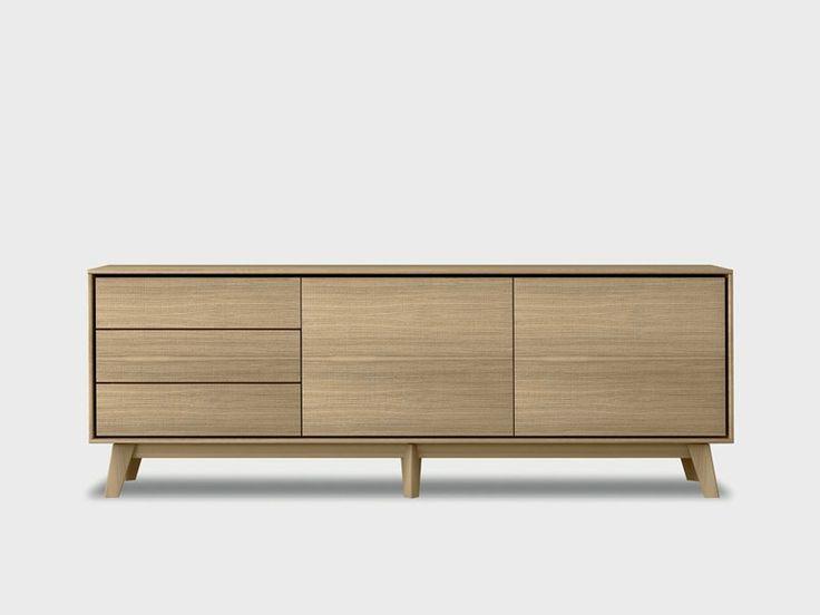 Solid wood sideboard AURA S3-3 Aura Collection by TREKU | design Angel Martí…