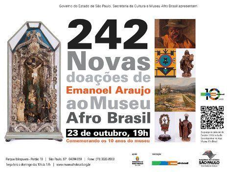 Para celebrar os dez anos do Museu Afro Brasil, Emanoel Araujo, diretor curatorial da instituição, doará 242 obras de seu acervo particular ao espaço. As preciosidades poderão ser conferidas a partir desta quinta-feira (23/10)...
