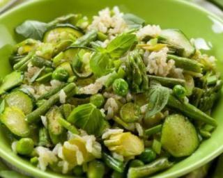 Riz aux légumes verts