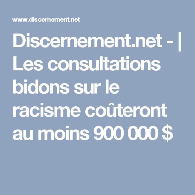 Discernement.net - | Les consultations bidons sur le racisme coûteront au moins 900 000 $