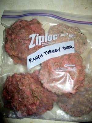 "Turkey Ranch Burgers - Combine 1lb ground turkey, packet of Ranch dip seasoning, 1 egg and shape into patties. Place on wax paper lined baking sheet and ""flash freeze."" Once frozen, peel off the wax paper and put in a labeled Ziploc freezer bag. Then to cook, you can either allow them to thaw on a baking dish and bake them, or cook them in a skillet (from frozen and they will thaw as they cook)."