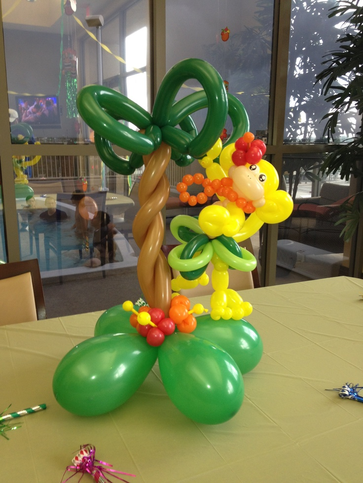 Tropical balloon animal monkey with a palm tree! This