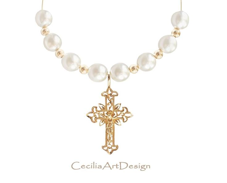 beautiful pearls and golden crucifix jewelry