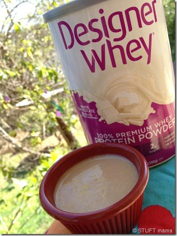 Designer whey protein frosting = white chocolate whey plus sugar free maple syrup