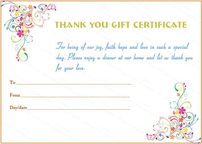 1000 ideas about Gift Certificate Template Word – Thank You Certificate Wording