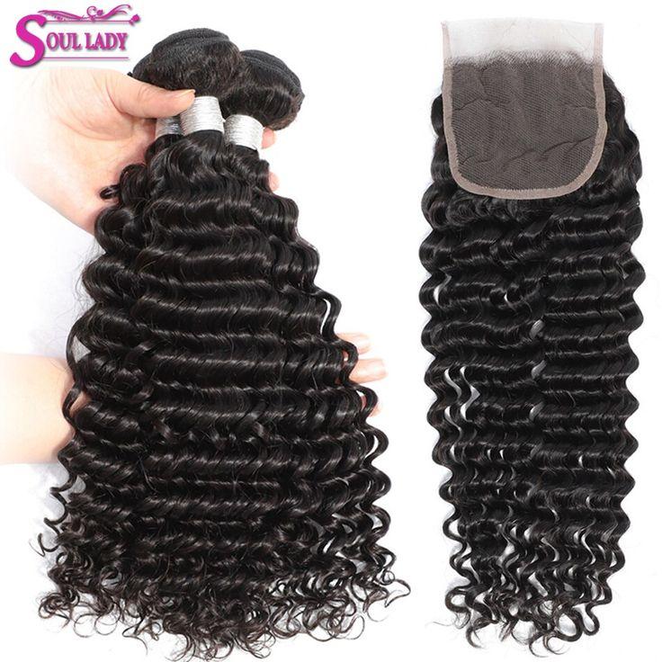 SoulLady Peruvian Human Hair Bundles Deep Wave Hai…