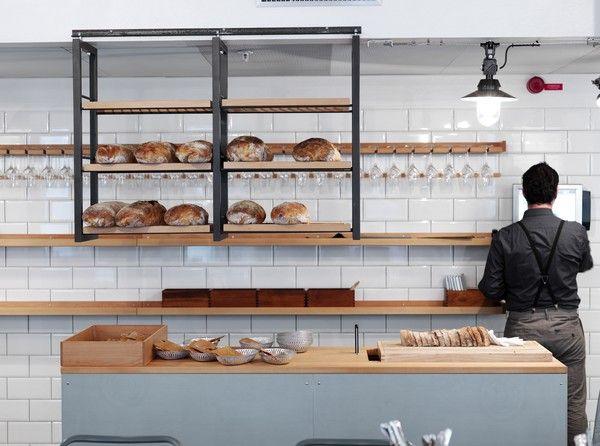 kitchen with island bread racks