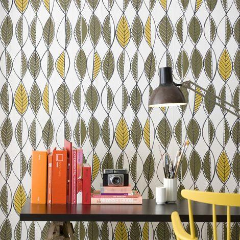 Retro leaves wallpaper
