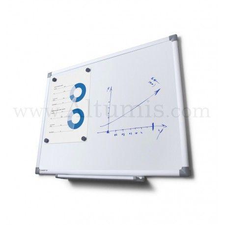 Système d'affichage suspendu, signalétique, entretoise murale. Tableau blanc magnétique. Cadre en Aluminium anodisé avec angles de sécurité. En stock.