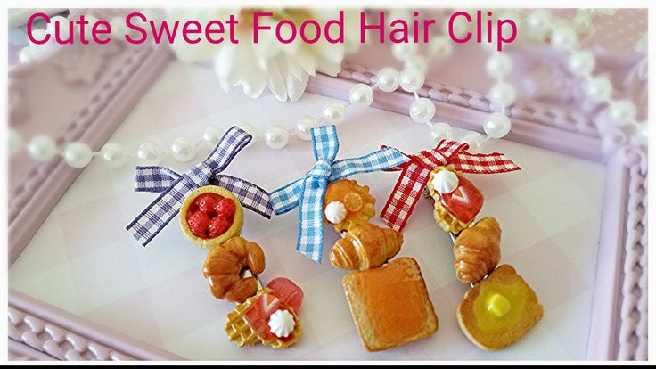 Cute Food Kitsch Novelty gift Gingham Ribbon hair clip,Fairy Kei Cute hair clip