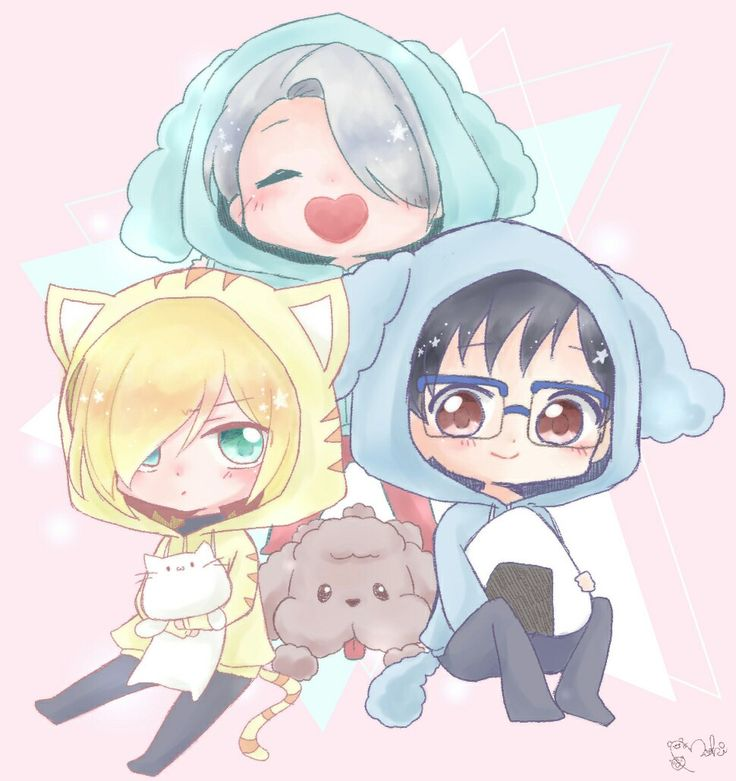Viktor, Yuuri, Yurio, cute, chibi, jackets, cat, neko, dog, Makkachin, onigiri, rice ball; Yuri!!! on Ice