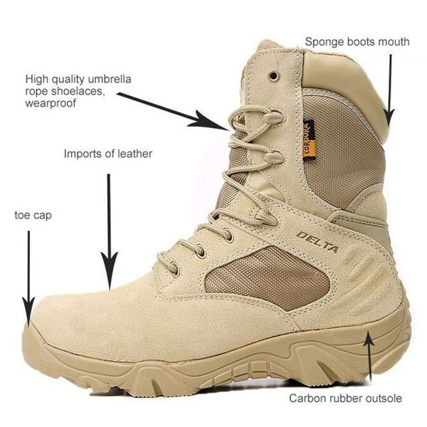 Delta Military Tactical Boots Leather Desert Outdoor Combat