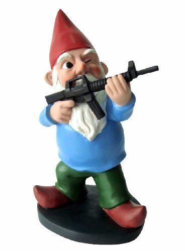 Gnome With A Gun-- Military Gnome-- Funny Garden Gnome ...