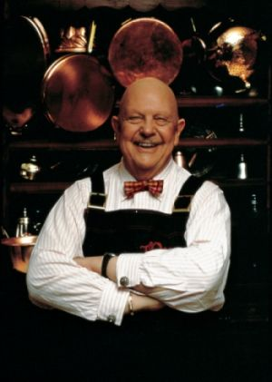 James Beard with his smile of course bow tie and copper pots! Love this picture! My favorite of his cookbooks American Cookery!