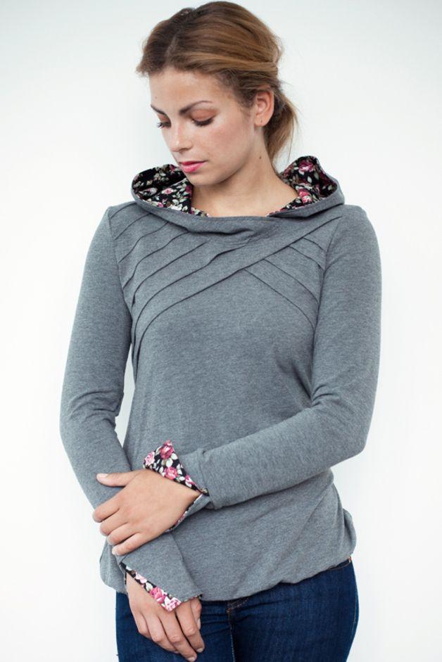 Sudaderas con capucha - floral hoodie shirt - grey - lamellar piping - hecho a mano por stadtkind_potsdam en DaWanda
