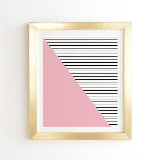 Modern Pink and stripes  Gold Framed wall art by PrintableHappies