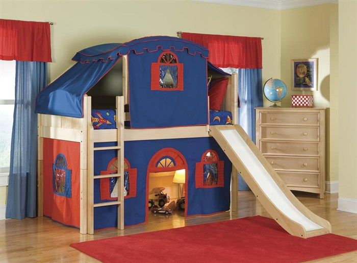 Kids Bedroom Modern Loft Beds For Design Ideas Red And Blue Scheme With Tent Slider Including Rug