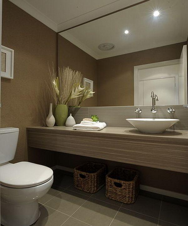 Grey bathroom floor tiles, large mirror