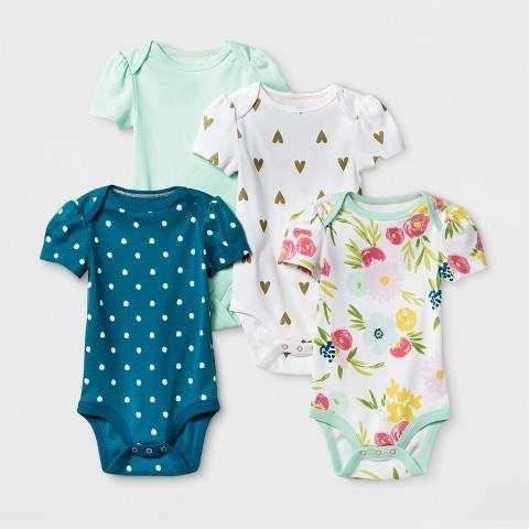 b786b2fa5 cloud island Baby Girls  4pk Short Sleeve Bodysuit Mint Blue ...