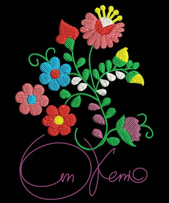 Machine Embroidery Design Mexican Flowers Calavera Pes Instant
