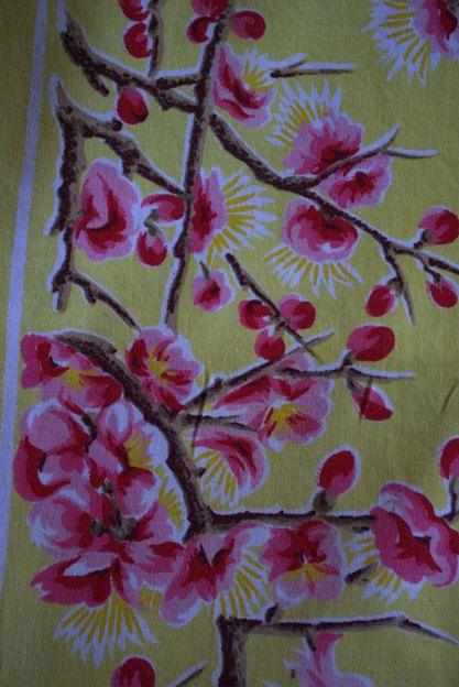 Pink Cherry Blossom Tablecloth Cotton On A By RockingClothesHorse, $10.00