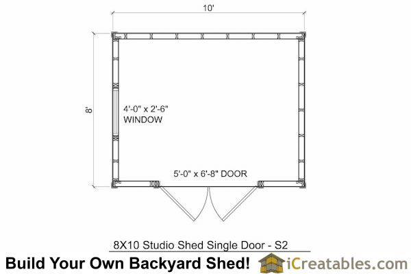 8x10 modern studio shed floor plan