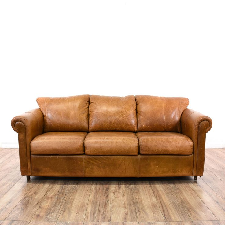 distressed camel leather sleeper sofabed
