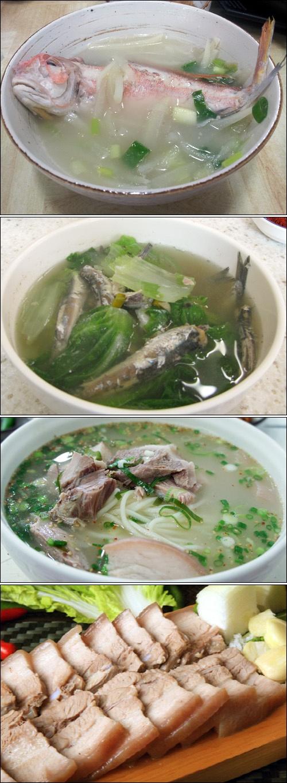 상상도 못할 진한 국물의 맛 -   제주도의 음식 문화는 육지 사람에게는 신선한 충격이다. 생선을 통째로 넣어 끓이는 국, 돼지고기로 만든 다양한 먹을거리 등등. 제주도 음식을 나열해 만든 노래가 있을 정도다. http://www.sisainlive.com/news/articleView.html?idxno=14220