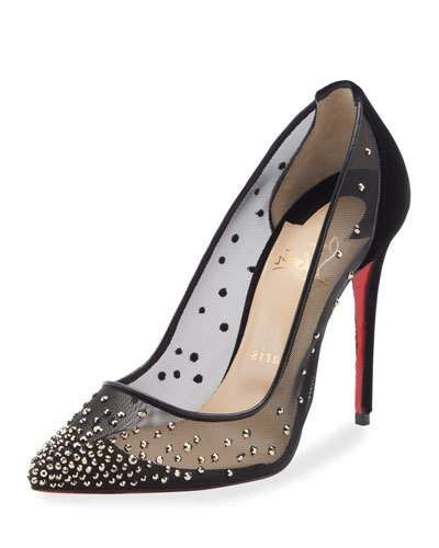 aa30e6f73a61 Christian Louboutin Follies Strass-Embellished Red Sole Pumps ...