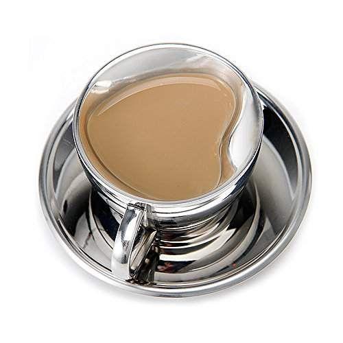 en forme de coeur tasse caf set wehome double paroi en acier inoxydable isol tasse caf. Black Bedroom Furniture Sets. Home Design Ideas