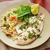 Baked Cilantro Tilapia with Brown Rice and Snow Peas Recipe